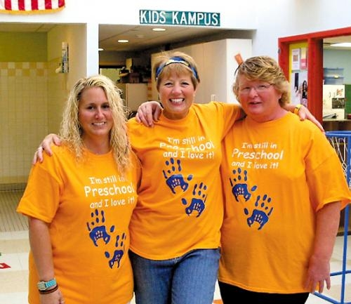 Pathfinder Kids Kampus teachers (from left) Julie Heacock, Sheila Crawford and Peggy Snyder show off the T-shirts they were given as part of Teacher Appreciation Day. Pathfinder recognized its teachers and their contributions on Friday, May 3.