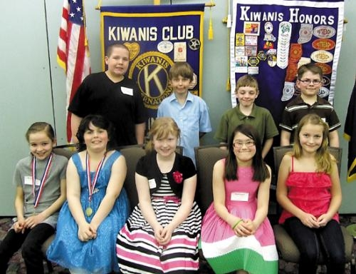 Terrific Kids honored by the Huntington Metro Kiwanis include (front row, from left) Merisa Walter, Bethany Marcum, Tatum Taylor, Haylie Keyser and Emalee Miser; and (back row, from left) Sam Rodrigues, Gabe Baumgardner, Brock Brubaker and Sam Scheiber.