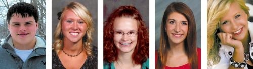 Tri Kappa sorority scholarship winners are (from left) Zach Shearer, Josie Eckert, Olivia Ely, Lauren Daas and Ana Wenning.