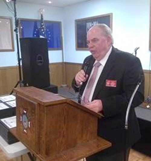 Greg Baker, Veterans of Foreign Wars Department of Indiana commander, speaks during a volunteer appreciation ceremony held by VFW Post 2689.