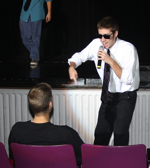 Jordan Hersey raps to an audience member during practice in the Huntington North High School auditorium on Tuesday, Nov. 20, for the variety show. The show is set for Wednesday, Nov. 28, and Thursday, Nov. 29, at 7 p.m. in the school's auditorium.