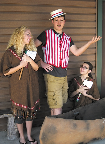 Morgan Nightingale, Preston Shafer and Andrea Broxon (from left) rehearse for the vaudeville show at the Forks of the Wabash Historic Park. Two shows will be presented on Saturday, Aug. 3, at 7 p.m. and 9 p.m.