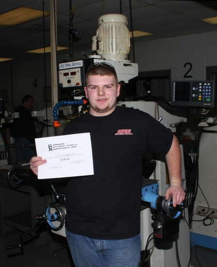 Huntington North High School student Brandon Satterthwaite placed first in the INTMA High School machining contest on Jan. 19. Satterthwaite's prize package included $1,000 for the Huntington North Machines Trades class.
