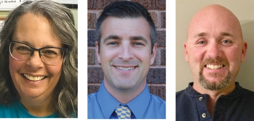 Warren Town Council candidates are (from left) Julia Glessner, Ethan Stivers, Tavis Surfus and Michael Yoder (no photo).