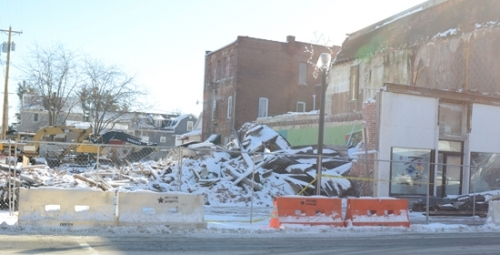 A pile of burned rubble is all that remains of the building at 214 N. Wayne St., in Warren, that housed long-time retail shop D & D Bikes and several apartments upstairs. The building, owned by Salt and Light Properties LLC, burned in a fire last Friday, Dec. 22. The top floor of the building at 212 N. Wayne St. also was destroyed by the fire.