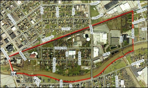 The area outlined in red will be the site of a 2018 project to separate storm and sanitary sewers.