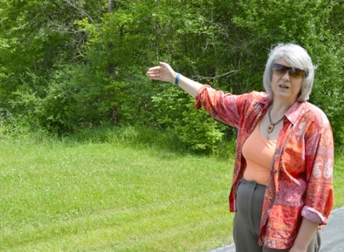 Sister Ginger Downey, general secretary for Our Lady of Victory Missionary Sisters, points out toward the 106 acres of land behind the Victory Noll campus that will be preserved by ACRES Land Trust. The purchase will be finalized late this summer.