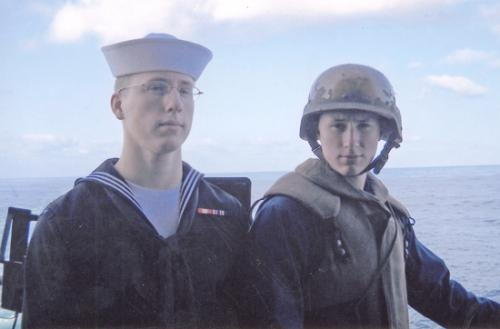 Huntington natives and brothers Jacob (left) and Nicholas Beemer, members of the United States Navy, serve on the same aircraft carrier, the USS Nimitz. The occurrence is a rare one.