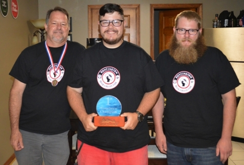 Huntington home brewers (from left) Rob Myers, Erik Garrison and Adam Larkey competed at the GnawBrew Beer, Art and Music Festival on July 22. Myers won third place and Garrison was awarded first place.
