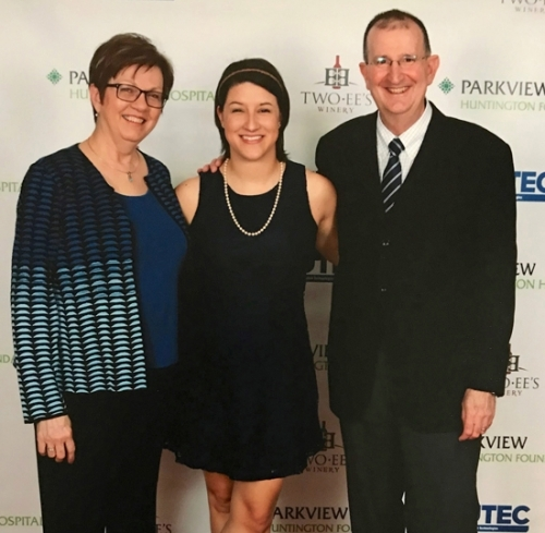 J. David Carnes, MD, Parkview Physicians Group – Family Medicine (right), with his wife, Janice (left), and daughter, Colleen, at the Parkview Huntington Community Gala last year, where Carnes was honored for his contributions to healthcare in Huntington County. Colleen made her own contribution in July, when she donated a kidney to a Fort Wayne boy, inspiring regional and national media coverage and her parents' pride.