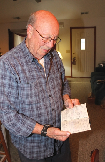 Bob Crispen shows the logbook he's kept since 1982 of the more than 365 trips he's driven to take patients to the Shriners Hospital for Children. Each trip is a minimum of 12 hours long, and an average of 356 miles of driving to either Chicago or Cincinnati. Crispen says.