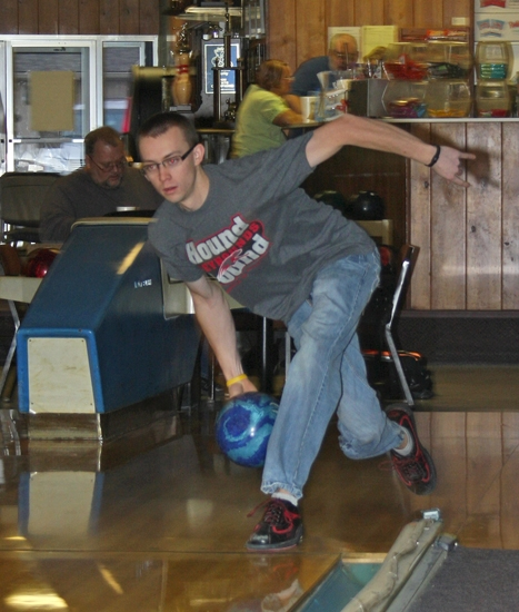 EJ Tackett, of Huntington, who became a professional bowler last November, tunes up his game at Oak Lanes Bowling Center in Huntington in preparation for upcoming tournaments on his schedule.