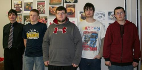 Dustin Adamson, James Boyd, Nathan O'Connor, Trevor Brewer and Levi Caley served as project managers for Dominic Manco's fifth period digital design projects, which provided Pizza Junction Café with four options for a new menu.
