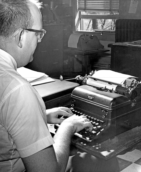 """Bob Hammel types a story on his typewriter in the summer of 1962 during his time as a reporter for The Herald-Press in Huntington. Hammel eventually departed his hometown and ended up in Bloomington, where he went on to have a long and distinguished career in sports journalism. Hammel wrote about his career in a new memoir, """"Last Press Bus Out of Middletown."""" He will be discussing the book during two appearances in Huntington on Tuesday, May 14. The second of those appearances will be at the Huntington Branch of the Huntington City-Township Public Library at 6 p.m."""