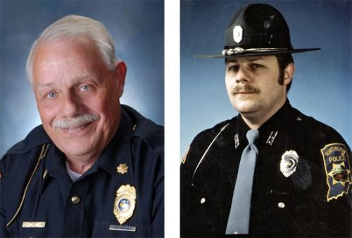 Tom Hughes (left) in his most recent police department photo, and Tom Hughes in his earlier days on the police force.