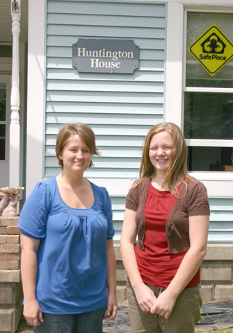 Jenny Simpson (left) and Kerry Wilson stand in front of the Huntington House, located at 576 William St. in Huntington. They are the new managers of the shelter, which has re-opened after being closed for several months.