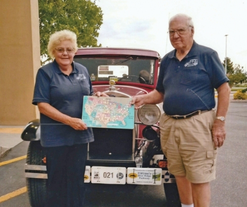 "With their 1930 Ford Model A dubbed ""Abigail"" in the background, Sharon and Tom Laupp, of Andrews, show the map of the United States that has been filled in, after they completed visiting the final few states this summer of the 48 states they've traveled in their vintage auto. The states they completed culminated in them visiting the famous ""Four Corners"" of the U.S., comprised of Utah, Colorado, New Mexico and Arizona."
