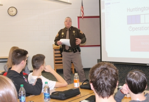 Huntington County Sheriff Terry Stoffel (standing) shares his vision with Huntington North High School juniors to help fifth-grade students with self-esteem issues, peer pressure and struggles with drugs and alcohol, during an Operation Impact training session on Wednesday, Jan. 17. A school convocation, in which the high-schoolers will kick off the program, will be held today, Monday, Jan. 22, in the high school's auditorium with the elementary school students.