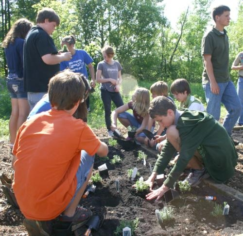 A group of Riverview Middle School seventh grade students plant lavender during the opening of the Riverview Physic Garden of Medicinal Plants in the Outdoor Classroom of the school on Friday, May 28.
