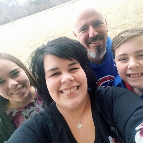 Rachel Murchland Eckert (second from left) will be the beneficiary of this year's Ride 2 Provide, which is set for Saturday, Aug. 18, at Markle Park. Eckert, a Markle native, was diagnosed with stage four metastatic colon cancer in December of last year. Also pictured are (from left) Eckert's daughter, Macy Eckert; Eckert's husband, Jeremy; and Eckert's son, Max.