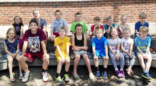 Eight sets of twins at Roanoke Elementary School celebrated the last days of school this year by getting together for a group photo. Pictured are (front row, from left) Kennedy Zahm, Sophia Scheer, Matthew Gross, Chloe Horne, Ethan Kelsey, Layla Wigmore, Delaney Molitor and Ellison Smith; and their siblings (back row, from left), Jerica Zahm,  Stella Scheer, Tyler Gross, Danny Horne, Evan Kelsey, Logan Wigmore, Alexis Molitor and Elliott Smith.