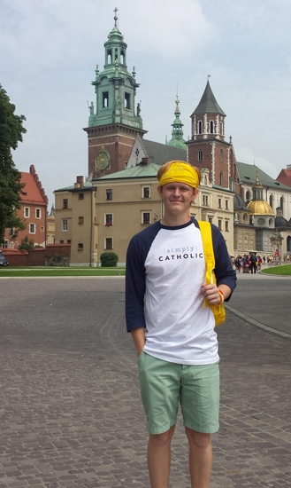 Trey Sorg, of Roanoke, stands in front of a cathedral that was built in the 1300s in the town of Częstochowa, one of the places he visited during his pilgrimage to Poland for Catholic World Youth Day.
