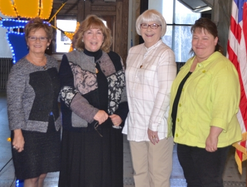 "Joanna Grassl (third from left), ""Huntington County's poll worker extraordinaire,"" poses with (from left) Indiana Secretary of State Connie Lawson, Huntington County Clerk Kittie Keiffer and Pam Fowler, Huntington County voter registration and election deputy, after Lawson recognized Grassl as Huntington County's Poll Worker of the Year on Thursday, March 16."