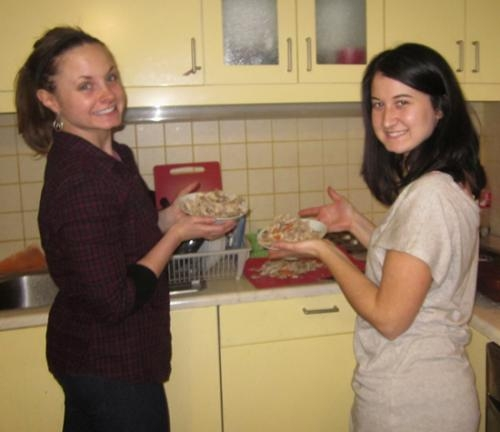 Sarah Schmidt (left) , director of the Huntington County Historical Museum and her friend, Regan Reimschisel prepare chicken and vegetable soup for a cafe in Riga, Latvia, run by the mission Freedom 61.
