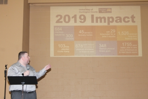 "Orion McCormack, donor development coordinator of United Way of Huntington County, shows the impact that United Way donations have made in the community during the 2019 Campaign Kickoff luncheon held Wednesday, Sept. 18, at Huntington First Church of the Nazarene. In December, United Way is also having a ""Giving Tuesday"" donation opportunity, a food drive to benefit local food banks."