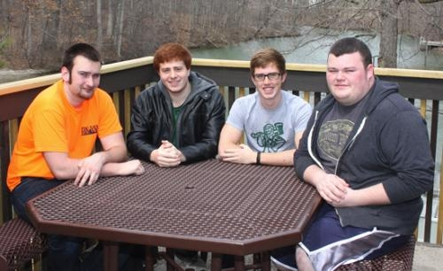 The current faces of W3 Productions, a video production group started by the students living on the third floor of Wright Hall at Huntington University, include (from left) TJ Clounie, Ethan Burch, Tyler Burson and Josiah Wood.