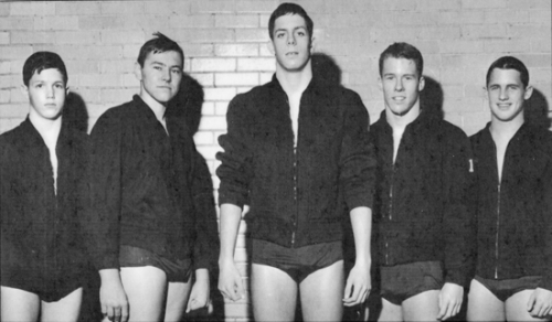 A teenage Steve Ware (third from left) stands alongside four other Huntington YMCA swimmers who earned college scholarships under coach Glen Hummer. Pictured are (from left) Alan Dilley, who would attend Michigan State University; Gary Kinkead, University of Michigan; Ware, Indiana University; Van Rockefeller, Michigan State University; and Steve Folk, Western Michigan University.