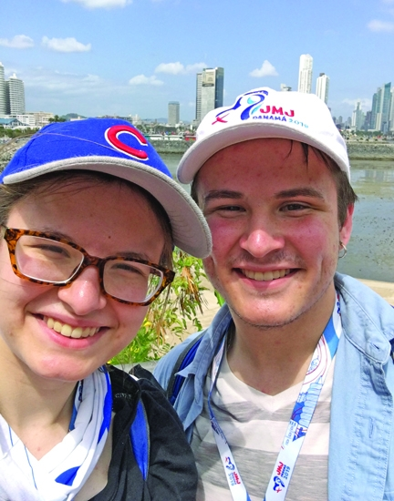 Siblings Grace Richert (left), 18, and Stephen Richert, 19, were among 75 pilgrims from the Catholic Church Diocese of Fort Wayne-South Bend to make the journey in January to Panama to celebrate World Youth Day. They joined Pope Francis, more than 150,000 young people from 155 countries and a total of 600,000 people who attended Mass on the final day of the event.