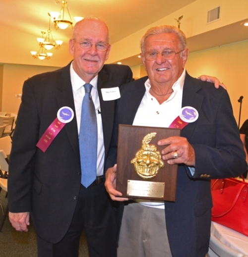 Mike Perkins (left), the 2016 Chief of the Flint Springs Tribe, poses with 2017 Chief Homer Hiner after presenting the award to Hiner during the Heritage Days kick-off breakfast Thursday, June 15, at the Historic Forks of the Wabash.