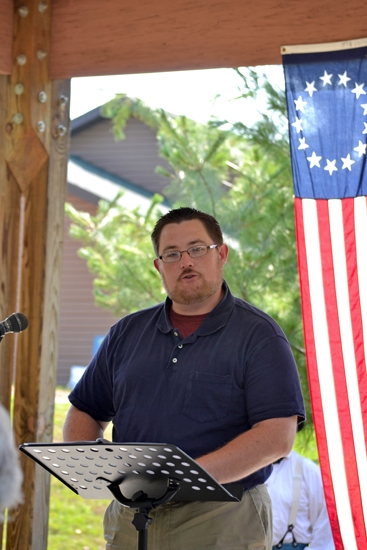 Matt Stephan reads the Declaration of Independence during the 2012 Old-Fashioned Fourth at the Forks.