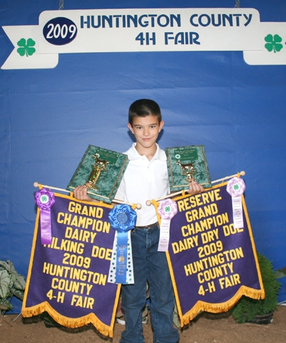 Kody Moon won grand champion dairy milking doe and reserve grand champion dairy dry doe in the 4-H goat show on Sunday, July 26.