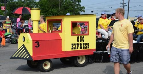 Central Christian Church CCC Express rolls down the Heritage Days Parade route on Saturday morning, June 22, on the way to winning the best religious unit award.