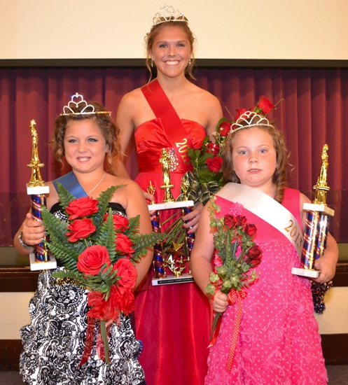 Salamonie Summer Festival royalty crowned during the June 30 pageant in Warren are (from left) Savannah Jenkins, junior miss; Stephanie McElhaney, queen; and Shaylyn Suchicki, princess.