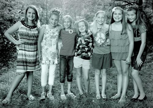 Candidates for the title of Young Miss Wildcat at the Princess Wildcat Contest as part of the 2013 Markle Wildcat Festival pose for this promotional photo.