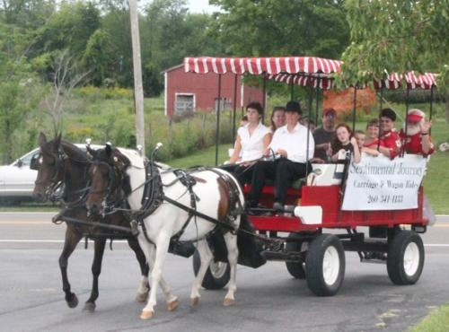Sentimental Journey takes passengers on a tour of Zanesville during the 2012 Homespun Day celebration. The wagon rides will return for this year's festival, set for this Saturday, Aug. 31.