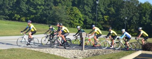Riders in the competitive business team challenge head out from Pathfinder Services on Saturday morning, Sept. 21, for their part of the 10th annual Huntington Bicycle Challenge.