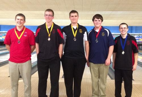 Huntington North bowler Tyler Krepp (far right) won the Hoosier Conference Voys' Varsity Singles Bowling Tournament on Saturday, Dec. 29, in Bluffton.
