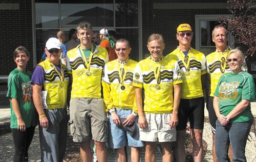 Pictured are (from left) Melissa Funk, of Markle Health & Rehabilitation, the race sponsor; team members Steve Pequignot, Matt Misner, Jeff Kenny, Patrick Stelte, Hugh Smith and Kirby Moss; and Belinda Clancy, of Markle Health.