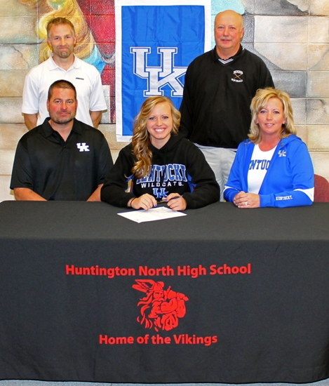 Huntington North High School senior Erin Rethlake (front center) signed a letter of intent on Friday, Nov. 15, to continue her softball career at the University of Kentucky.