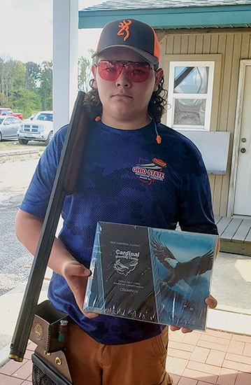 Showing off his award from the six-day Cardinal Classic shooting competition is 15-year-old Gabe Watkins, of Huntington. Gabe recorded 100 out of 100 targets broken in the handicap event on Sunday, Aug. 23, which was the final day of the competition.