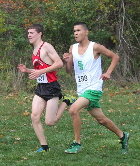 Huntington North sophomore Austin Lange (left) competes Saturday, Oct. 20, at the New Haven Cross Country Semi-State at The Plex, in Fort Wayne. Lange finished fifth for the Vikings, who placed 14th as a team.