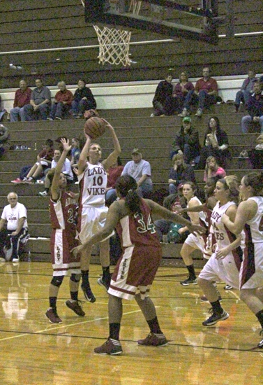Lady Viking Allyson Trout goes up for a short jumper in the lane against visiting Anderson on Friday, Jan. 11.