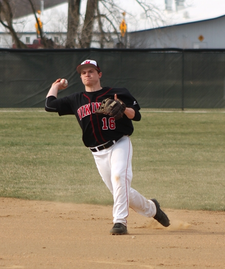 Huntington North second baseman Trey Bowling comes up firing to first after fielding a bouncer against visiting Norwell on Tuesday, April 9.