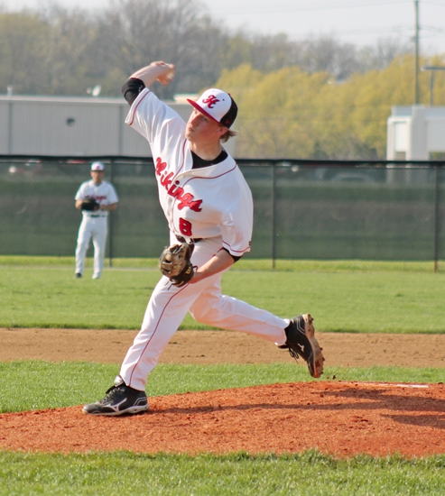 Viking pitcher Braydin Stell gets ready to unleash a pitch homeward during second inning action between the Vikings and visiting Marion on Tuesday, April 30. The Vikings won 9-5.