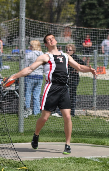 Huntington North discus thrower Nathan Sutter prepares to let the platter fly at the Lime City Relays at Kriegbaum Field on Saturday, April 27.