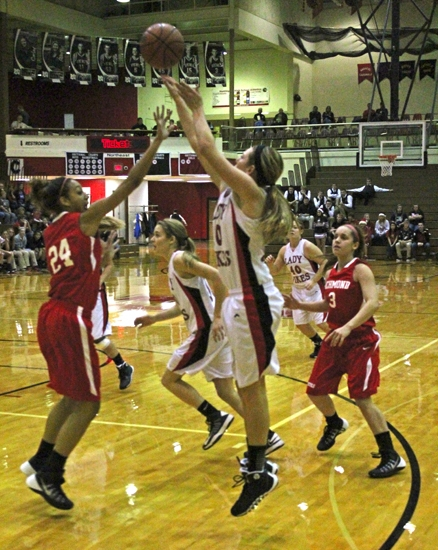 Sarah Fryman goes up for a jumper against visiting Richmond on Friday, Dec. 20. The Lady Vikings lost, 71-48.